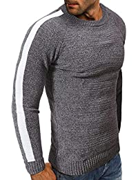 BUSIM Men's Long Sleeve Sweater Sweater Loose Crew Neck Sweater Knitwear Fall/Winter Fashion Slim Warm Jacket...