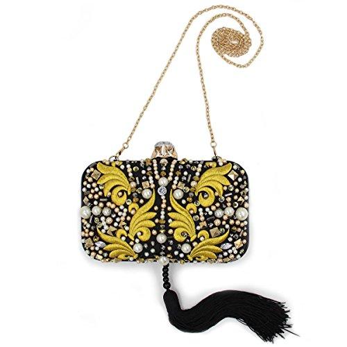 YAN Damen Vintage Luxus Clutche Handtasche Abendtasche Büro & Karriere Club Cocktail Hochzeit Fashion Show Business Oder Arbeiten