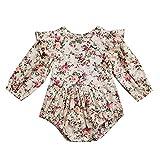 Shopaholic0709 Neugeborene Kleidung, Baby Mädchen Langärmelige gebrochene Blumendruck-Fliegenärmel (6M-24M Beige)