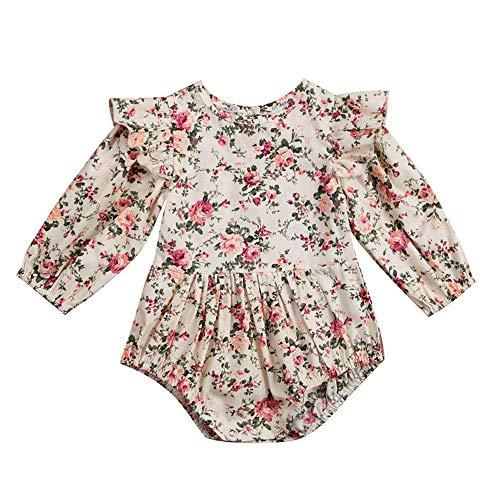 Shopaholic0709 Neugeborene Kleidung, Baby Mädchen Langärmelige gebrochene Blumendruck-Fliegenärmel -