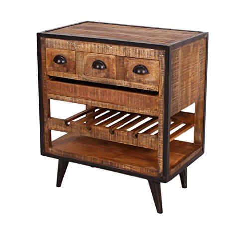 SIT-Möbel Iron 7887-04, Küchenwagen mit 1 Tablett, 1 Einlegefach und 3 Schubladen, aus Mangholz, Schmiedeisenapplikationen, braun, 78 x 48 x 87 cm