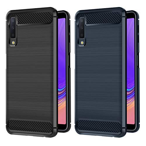iVoler Hülle Kompatibel für Samsung Galaxy A7 2018, [2 Stücke] Carbon Faser Case Tasche Schutzhülle mit Stoßdämpfung Soft Flex TPU Silikon Handyhülle - (Schwarz+Blau) Carbon Tasche