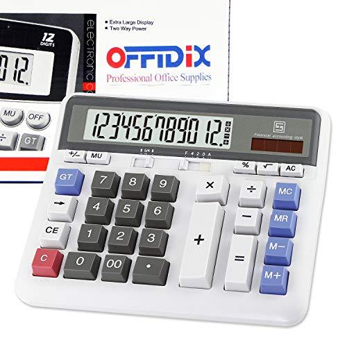 OFFIDIX Calculateur de clé d'ordinateur de bureau, Calculatrice électronique à double alimentation solaire et sur batterie Calculateur grand écran LCD 12 chiffres (blanc)