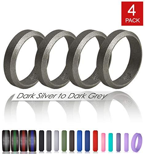 Knot Ring (Knot Theory Silikon Hochzeitsring/Eherin für Männer und Frauen in Dunkelsilber Größe 10 6mm Ringbreite - Ideal für Reisen, Arbeit, Übungen)