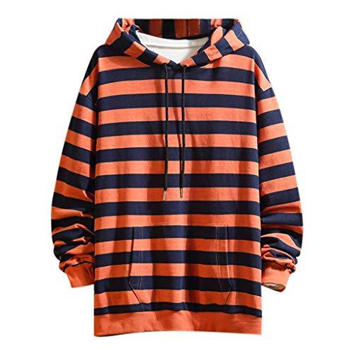 Xmiral Herren Hoodie Kapuzen-Sweatshirt mit Tunnelzug Tasche Streifen Sweatjacke Kapuzenjacke Hoodie Mit Kapuze Hoch Abschließendem Kragen(Orange,L) -