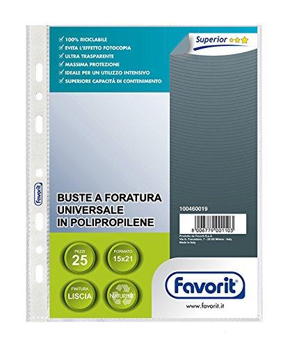 Favorit 100460019 Busta a Foratura Universale Formato Interno A5 Finitura Liscia Confezione da 25 pz.