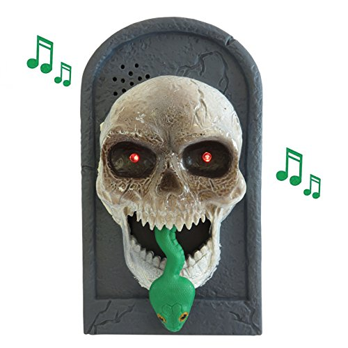 OULII Halloween Skull Timbre Iluminación Eyeball Talking Scary Sounds para Party Bar Decoraciones Puerta Kids Gift Toys