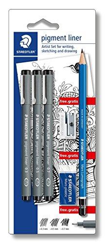 Staedtler 308 SBK3P Artist Set 3 Pigment Liner 0.3, 0.5, 0.7 und Bleistift, Spitzer, Radierer Gratis, schwarz (Liner Staedtler Pigment)
