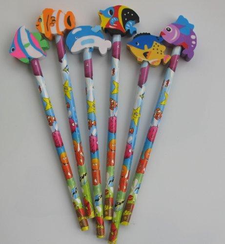 vita-marina-tema-matita-con-forma-di-pesce-eraser-topper-confezione-da-6