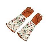 1 par guantes de jardín de manga larga mujeres, guantes de labor trabajo suave siesta forrado, poda de jardinería recorte