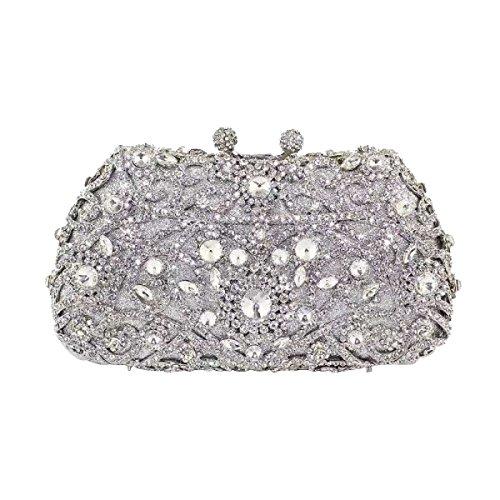 Diamanti Vintage Diamante Cena Borsa Borsa Borsa A Mano A Forma Di Cuore Silver