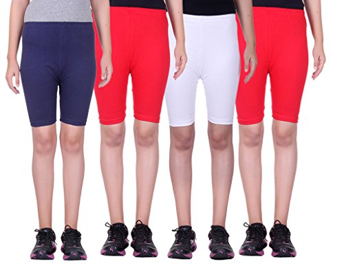 Alisha Stretchable Cycling Shorts - Pack of 4 (NVY_RED_WHT_RED_38)