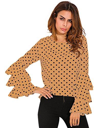 StyleDome Femme Chemise Point Col Rond Manches Longues Casual Elégante Tunique Shirt Haut Tops Kaki569857