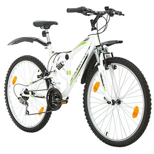 Probike EXTREME 26 Zoll Fahrrad Mountainbike Vollfederung Shimano 18 Gang Herren-Fahrrad, Damen-Fahrrad, Jungen-Fahrrad Mädchen-Fahrrad, geeignet ab 155 - 180 cm ((Weiß mit Kotflügel))