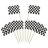 Contenu de l'emballage:  Choix de drapeaux de 100 paquets, quantité considérable pour la décoration de nombreux cupcakes, mini-desserts ou friandises dans vos soirées.   Drapeau de la course en noir et blanc:  Les deux côtés des drapeaux sont imprim...