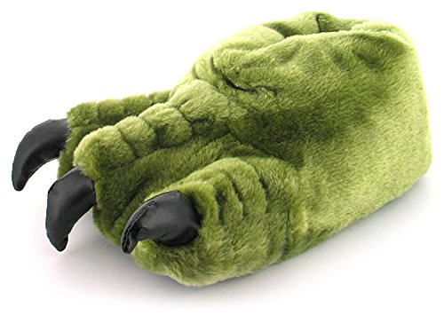 New Boys/Childrens Green Novelty Monster Claw Slippers Gift Ideas - Khaki - UK SIZE 2