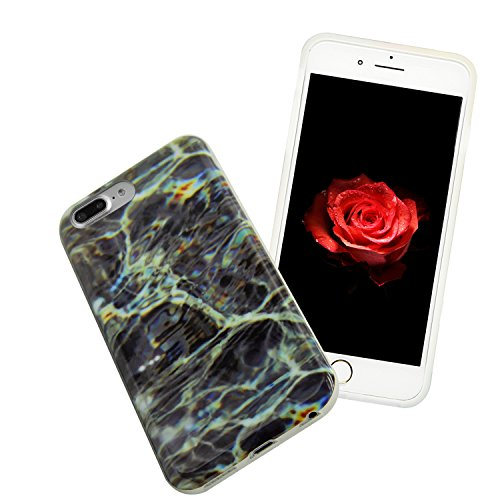 "Coque iPhone 7 Plus 5.5"" Souple Motif Marbre Grain Sunroyal® Etui Housse en TPU Silicone Soft Case Arrière avec Marble Effect Naturel Back Cover Ultra Slim Shell de Protection Anti-Choc Bumper pour Ap Marbre 27"