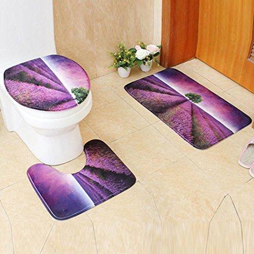 artistic9(TM) 3/Set rutschfest Flower Print WC-Mats Set, Ständer Teppich + Deckel WC-Deckelbezug + Badteppich für Badezimmer, violett, 50x80cm Auto-lack-ständer