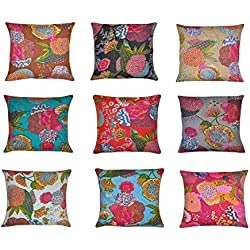Indian Home Decor Fundas de Cojín Estampadas con Bordados 41 X 41cm, Lote de 10 Unidades
