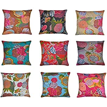 This Item Indian Home Decor Thread Embroidery Work Block Printed Kantha Cushion Cover 41 X 41 Cm Lot Of 10 Pcs