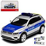 Volkwagen Tiguan II Polizei Wiesbaden Hessen Silber 2. Generation Ab 2015 H0 1/87 Herpa Modell Auto