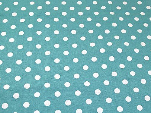 Spotty Polka Dot Print Baumwolle Canvas Stoff aqua-Meterware -