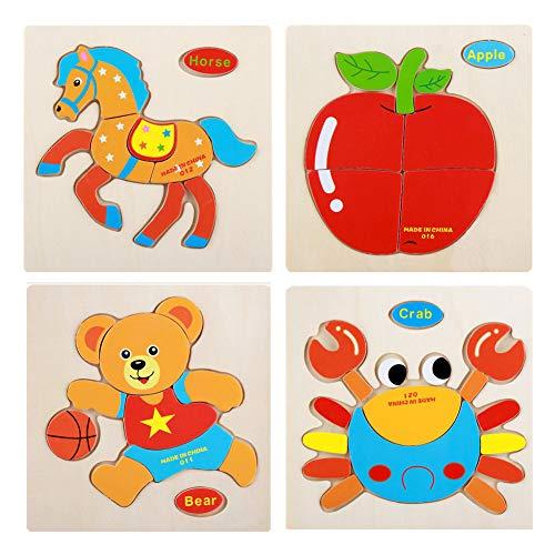 Isuper Satz von 4 Kinder Bunte pädagogische Stichsägen Cartoon Tier Puzzles Holz Verkehr Puzzle Kinder Obst Puzzles für Kleinkinder, Kinder im Vorschulalter