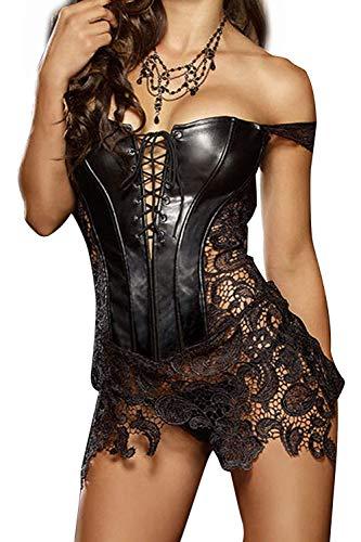 Damen Leder Bustier (OUDIYA Leder Korsett Korsage Damen Vollbrust Faux Leder Corsagenkleid Sexy Dessous Korsett Übergrößen Schwarz Große S-3XL)