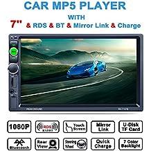 """lling (TM) doble DIN, 7""""in-dash pantalla táctil estéreo con Bluetooth para coche estéreo/mp3mp4mp5reproductor de audio y vídeo/sintonizador de FM/AM/RDS/Control de volante y HD Radio, Negro"""