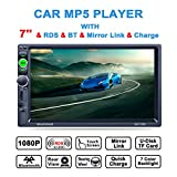 Lling (TM) double DIN, écran tactile Intégré au Tableau de bord 17,8 cm stéréo avec Bluetooth stéréo de voiture/MP3 MP4 MP5 Audio Video Player/commande au volant/FM/AM/RDS Tuner radio et HD, Noir