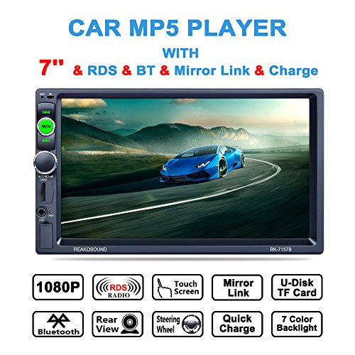 Lling (TM) Touchscreen-Autoradio In-Dash, Doppel-DIN, mit Bluetooth, MP3, MP4, MP5, Video Player, Lenkradfernbedienung, FM/AM/RDS-Tuner und HD-Radio, Schwarz. (Abnehmbare Frontplatte Touchscreen)