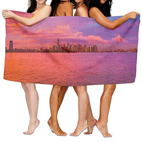 VTXWL New York City Pink Sunset Unisex Fashion Towel Personalized Print Beach Towels