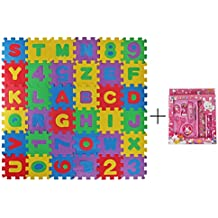 Meiqils Lápiz Stationery Set +Alfombra Infantil de Puzzle Goma EVA 36 Piezas Desmontables Manta de Puzzle de Espuma Gigante de Suelo Alfabeto y Números para Niños