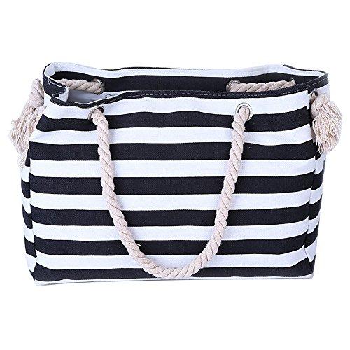 Wewod buona qualità tela Shopper Borsa da donna Shopping Bag Large borsa a tracolla college Bag per studenti (38* 18* 30cm), Tela, Black, 14.96(Zoll)*11.81(Zoll)*7.08 Zoll(L*H*W)