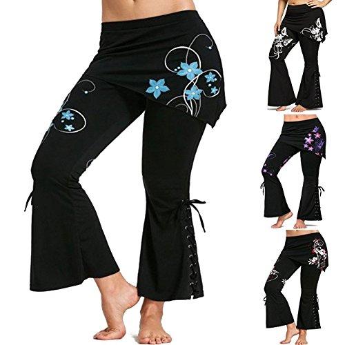 Pantaloni Taglia Più Pantaloni Lunghi Pantaloni Vintage con Minigonne Vita Alta Pantaloni Neri Leggings Svasati Retro Gotico Casuale Juleya Colore 4