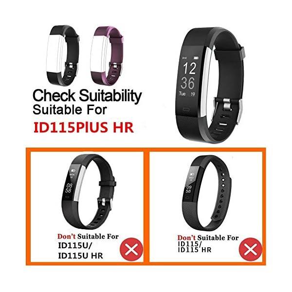 YiYunTE ID115Plus HR - Correa de repuesto ajustable de TPU para pulseras inteligentes de 115 Plus HR 5