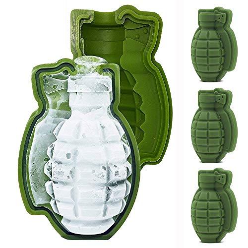 Zihuist 3D Granate Eiswürfelform, 4er Stücke Silikon lebensgroße Handgranate Whisky Ice Ball Tray Maker (Granate Schokolade)