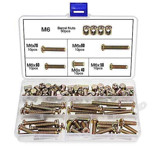 100 pezzi M6 Bulloni con ghiera M6 x 40/50/60/70 / 80 viti cilindriche zincato bullone dadi assortimento Kit per mobili culle Letti presepe e sedie