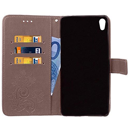Double Magnetic Back Sucktion Retro Style PU Leder Flip Stand Case mit Kickstand und Wallet Beutel Funktion für Sony Xperia C6 ( Color : Black ) Gray