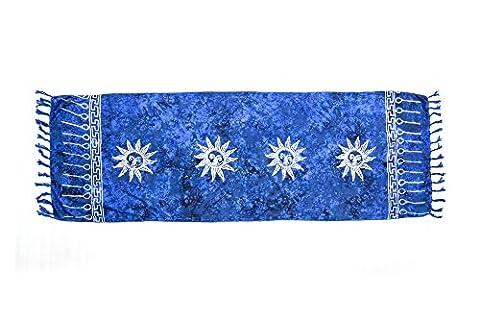 ManuMar Damen Sarong   Pareo Strandtuch   Leichtes Wickeltuch in dunkel-blau mit Sonnen-Motiv mit Fransen-Quasten Mini-Rock 55x155 (Mini Wrap Around Wrap)