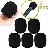 5 pack Bonnette Micro Mousse Mic Microphone à Main Couverture de Pare-Brise, Noir