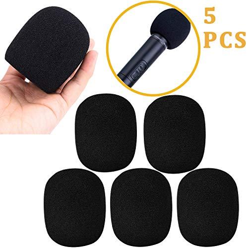 Paquete de 5 Mini cubierta de espuma Micrófono del parabrisas Micrófono cubierta Pantalla de espuma de mano para MXL y audio, Filtro pop perfecto para grabación, Negro