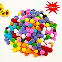 1cm Craft Pompons Multicolores Rondes,2000pcs pour Enfant Artisanat Fabrication et Loisirs Fournitures DIY Creative Décorations by Earthsafe