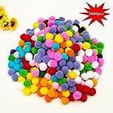 Mini Pompons, EarthSave 2000 Stück Bunte Pompoms 10mm Pom Pom bälle für DIY Kreative Handwerk Dekoration