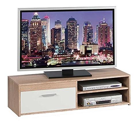 TV-Lowboard Fernsehschrank Fernsehtisch GENIUS | Eiche Sonoma | Weiß matt