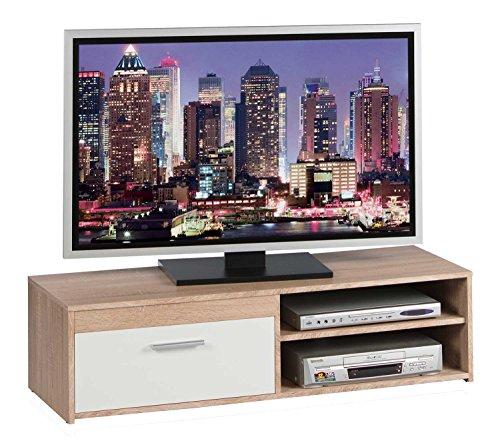TV-Lowboard Fernsehschrank Fernsehtisch GENIUS | Eiche Sonoma | Weiß matt | 120x32x38 cm