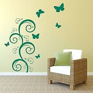 Decor Kafe Home Decor Butterflies Landscape Wall Sticker, Wall Sticker for Bedroom, Wall Art, Wall Poster (PVC Vinyl, 53 X 60 cm)