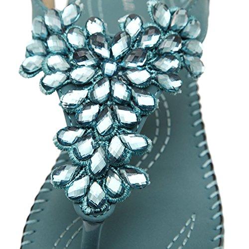 Oasap Femme Eté Sandales Faux Diamant Talons Compensé Boho Style Rome Beige