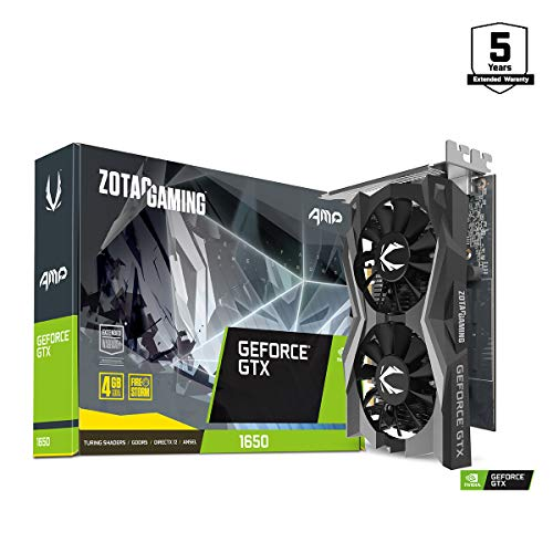 ZOTAC GeForce GTX 1650 AMP Edition 4GB GDDR5 4K VR Ready Overclocked 128-bit Gaming Graphics Card (ZT-T16500D-10L)