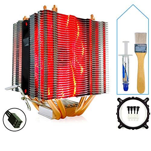 SMOEE CPU Kühler Kühler Helle und leise 4-Kupferrohr-Einzellüfter 3Pin-Schnittstelle Rote Version Kompatibel mit Intel AMD Dual Platform